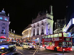 Piccadilly Circus at night (uplandswolf) Tags: london taxis picadillycircus busses