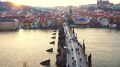 Sundown in Prague (jbspeed996) Tags: travel bridge sunset saint river t scenery europe republic sundown czech prague charles 24 za lenses sonnar carlzeiss