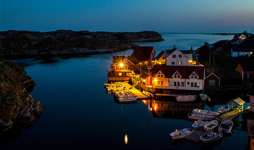 Nautnes by night, Øygarden, Norway.