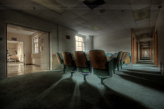 To boldly go where no man has swept the floor (Sshhhh...) Tags: light abandoned hospital chair shadows explorer corridor explore ward derelict hdr urbex sshhhh