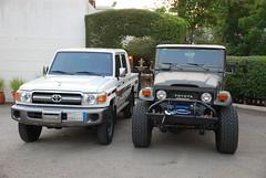FJ45 vs  LC79 doublecab. (shine_on) Tags: auto car truck desert 4x4 dunes wheels tires filter saudi arabia toyota dakar jeddah suv 35 fj landcruiser saudiarabia arb headers atx lifted fj45 oldmanemu fjcruiser fabtech doublecab dirtlogic superwinch procomp difflock lc79 at2s