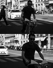 [La Mia Citt][Pedala] parecchio nelle Domeniche a piedi ... (Urca) Tags: portrait blackandwhite bw italia milano bn ciclista biancoenero bicicletta pedalare 2013 dittico 57569 domenicaapiedi bikemi ritrattostradale nikondigitalefilippetta