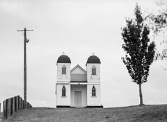 Ratana Church, Raetihi (gomezthecosmonaut) Tags: newzealand bw ilforddelta100 fujigx680 ratanachurch ruralproject 150mmgxm newzealanddocumentary