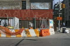 Michelangelo on Lafayette St. (micmol ) Tags: road street city nyc newyorkcity urban usa ny newyork net horizontal work fence painting us construction lafayette outdoor manhattan cement business works barrier michelangelo sunnyday separation