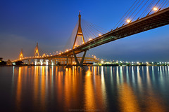 The Bhumibol Bridge in Bangkok (noomplayboy) Tags: city bridge light sky urban cloud reflection building water grass horizontal architecture skyscraper river garden landscape asian thailand outdoors photography evening early high dock support highway streetlight asia industrial cityscape cross riverside suspension dusk bangkok postcard famous capital lawn large engineering tranquility landmark rope junction architectural illuminated cables thai highrise huge tall suspensionbridge chaopraya connection rama chaoprayariver standingwater crossway capitalcities traveldestinations colorimage viiii consumerproduct builtstructure   thebhumibolbridge plusgooglecomu0104736743032250724923posts