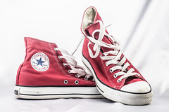 17/365: Red Chucks on White (KristyR929) Tags: red converse 365 chucks chucktaylors allstars redandwhite lightroom project365 365daysproject nikkor105mmf28gvrmicro cmwdred artificialstilllife nikond7100
