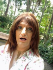 Did You Just Take My Picture? (justplainrachel) Tags: silly floral face tv rachel cd blouse tgirl tranny surprise shock crossdresser justplainrachel