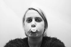 Bubble skills (Ann-SofieHolleufer) Tags: portrait gum blackwhite nikon december bubbles skills highkey 1855mm selfie fail d3100