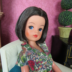 (6) Miss Ruby (Foxy Belle) Tags: wood red white plant clock scale wall vintage fix hair paper cozy chair doll play floor cut room air grandfather hard barbie repair makeover 16 brunette damaged diorama pedigree sindy tlc