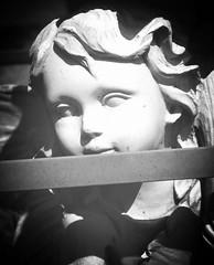 angelic yard art (LauraSorrells) Tags: blackandwhite angel jasper peaceful statuary 2008 stillness smalltown