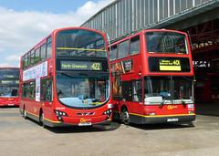 GAL WVL354 LX60DWD - PVL229 Y729TGH - BX GARAGE - SAT 3RD MAY 2014 (Bexleybus) Tags: bus london ahead volvo garage president go gemini bexleyheath bx plaxton wrightbus pvl229 y729tgh wvl354 lx60dwd