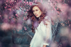 Natalis Domini. Spring Garden (ravenajuly) Tags: pink flowers red woman white green art girl beautiful beauty fashion garden hair spring model eyes long dress top lips curly figure thin emotional tender feelings ravenajuly
