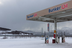 Bunker Oil (NykO18) Tags: road street mountain snow water sign norway landscape europe peak gasstation manmade inlet fjord nordnorge troms fuelingstation balsfjord naturalelement laksvatn