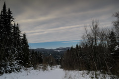 Blue Sky. (thegreatnorth_mtl) Tags: winter snow canada mountains cold ice nature landscape frozen quebec hiking bluesky evergreen snowshoeing february laurentians laurentides mountainrange nikond3100