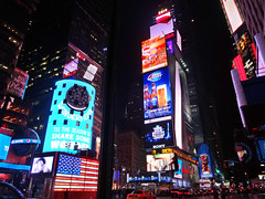 Times Square at Night (lefeber) Tags: nyc newyorkcity signs newyork architecture night buildings ads lights nightlights skyscrapers nypd americanflag timessquare billboards advertisements