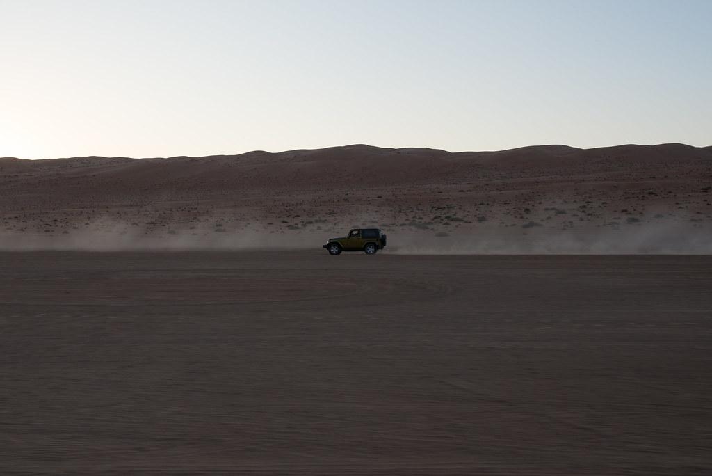 Speeding across the desert