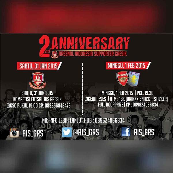 #2ndAnniversary #AIS @AIS_GRS: MatchScreeningAISGRS ARSENAL Vs Aston Villa | Start 19.30 WIB Minggu 1-2-2015 | @KedaiESES | HTM 18 K | s1d1VtdXw7K