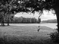 Soccer at Versailles (flopper) Tags: boy blackandwhite paris tree sports pool garden kick soccer lawn versailles traveldestinations