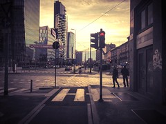 """""""Milan Dawn"""" (giannipaoloziliani) Tags: street city red sky urban italy trafficlights cars colors architecture clouds buildings walking dawn downtown crossing shadows skyscrapers traffic alba live milano centre horizon perspective shapes citylife streetphotography peoples metropolis urbano roads lombardia reportage crosswalks urbanlife mailand urbanstreet metropoli semafororosso milancity giannipaoloziliani"""