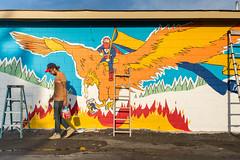 Cool Blue Rising / PBR Mural (J Trav) Tags: blue atlanta red portrait phoenix yellow painting georgia mural pbr pabstblueribbon coolblue coolbluerising