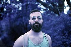 film (La fille renne) Tags: portrait plants man film nature analog 35mm lomography purple bokeh outdoor minoltax700 50mmf2 lomochrome lafillerenne lomochromepurple lomochromepurplexr100400