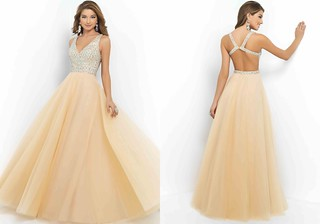 $208.00 -At MIYADRESSES.COM - Champagne Beaded Straps Deep V-neck Open Back Evening Ball Gown