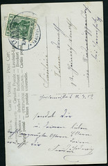 Archiv E662 Rotkppchenkarte (back), Langebrck, Sachsen, 1909 (Hans-Michael Tappen) Tags: stamps postcard ephemera sachsen 1909 postkarte handschrift briefmarke poststempel langebrck archivhansmichaeltappen