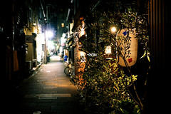 Ponto-cho Street () at Night in Kyoto () Japan (TOTORORO.RORO) Tags: street people love night zeiss river walking spring kyoto dramatic lifestyle retro e riverbed carl biking    nightlife kamo kamogawa pontocho activities cusine  sonnar    sel24f18z sonnart1824 sonnarte1824