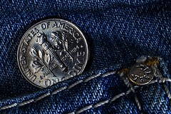 Pocket for coins (    ) (Vadim Tsymbalyuk) Tags: macro coin jeans dime denim pocket rivet macromondays smallerthanacoin