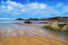 Fistral Beach (mollygreen2016) Tags: new longexposure blue light sea summer england sky seascape art water clouds photography photo sand nikon rocks image picture slowshutter capture