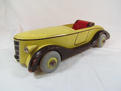 """BRIO Wooden """"Roadster"""" Car (1940s) (Brickadier General) Tags: auto wood car yellow vintage toy wooden automobile lego antique convertible 1940s vehicle rare roadster holzspielzeug"""