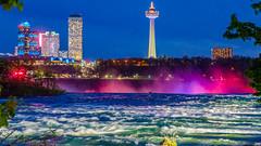 Skylon Tower, Canada (_Hrushi) Tags: usa canada tower water night lights niagara falls skylontower