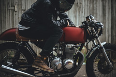 Cafe Racer Lifestyle (b.tormanen) Tags: red black film leather honda 50mm mirror cafe colorado sony 14 lifestyle denver moto motorcycle a7 caferacer racer fd maunalfocus