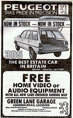 1981 ADVERT GREEN LANE GARAGE PEUGEOT DEALERS LONDON ROAD LEICESTER - 305 ESTATE (Midlands Vehicle Photographer.) Tags: road green london estate garage leicester lane advert 1981 peugeot 305 dealers