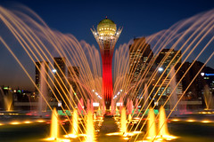 Shining Waters (PHOKUZ.NET) Tags: city color water fountain evening illumination kazakhstan astana