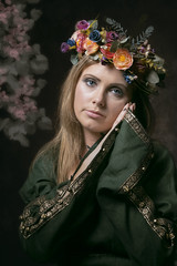 Want (Michelle Hughes Walsh Photography) Tags: portrait woman flower green beautiful lady photography model posing garland baroque maid renaissance