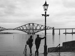 FourthRail (gregjack!) Tags: uk people bw rain silhouette scotland edinburgh streetphotography rail forth riverforth southqueensferry forthrailbridge
