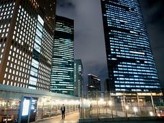 City Light (Ted Tsang) Tags: street travel bridge japan skyline night reflections tokyo cityscape nightscape olympus    minato shiodome em1   carettashiodome