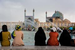 Women (adrien.ledeul) Tags: blue woman sun color water pool scarf tile persian construction women iran minaret femme persia mosque iranian sha femmes perse tilework mosaue
