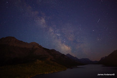 3 wishes (820-Photography by James Anderson) Tags: alberta watertonnationalpark starrynight milkyway shootingstar milkywaysky