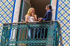 The Balcony Scene (Pauls-Pictures) Tags: street city two people urban color colour coffee photography lisbon candid balcony pair streetphotography lovers tiles flirting talking photograhy streetphotos streetpics streetphotograhy streetpictures