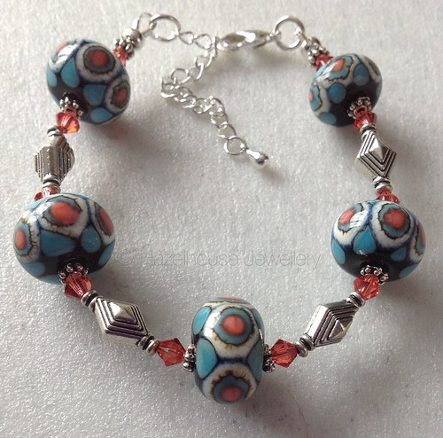 Turquoise and coral with ivory bracelet