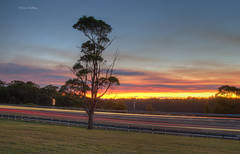 sunset 2 (loobyloo55) Tags: road blue trees light sunset red sky orange tree grass yellow clouds lights sunsets australia newsouthwales lighttrails hdr canoneos7d
