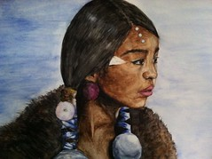 Native American Child (kelly_rroman) Tags: portrait texture girl watercolor fur landscape paint child native nativeamerican watercolour