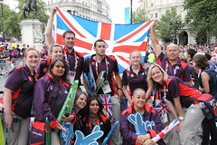 Games Makers in London for the Olympic Victory Parade (Ian Press Photography) Tags: people london square jack happy person britain flag union great joy trafalgar happiness patriotic games celebration gb british olympic olympics celebrating 2012 paralympics makers london2012
