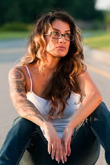 M13_0771 (emjay_photo) Tags: road street sunset portrait woman sun sunlight abandoned girl tattoo pose stars golden model woods nikon all arm outdoor dusk highlights tattoos jeans hour converse swamp taylor cons chuck denim sleeve highlight taylors tattooed d300s