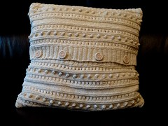 Cushion. (@Jenny@) Tags: garter stitch buttons patterns cream rib knitted cushion bobbles 113picturesin2013