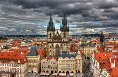 View of Prague above the old town square (Vagelis Pikoulas) Tags: old blue autumn houses light sea sky sun house storm colour tower clock clouds canon square landscape eos town kiss europe day republic view czech prague 1855mm hdr x4 astronomical 2013 550d abigfave colorphotoaward mygearandme mygearandmepremium mygearandmebronze mygearandmesilver mygearandmegold mygearandmeplatinum mygearandmediamond ringexcellence musictomyeyeslevel1