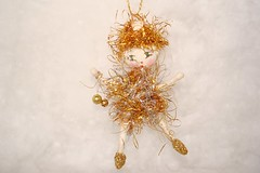 spun cotton tinsel fairy ornament (jejemae) Tags: christmas art gold folkart handmade folk decoration sprite kitsch pixie fairy tinsel whimsical elfin vintagestyle vintagecraft madeintheusa feathertree spuncotton cottonhead antiquestyle vintageappeal ornamet cottagecraft primitivecrafts