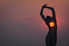 Burning Man - Sunrise at the Woman (sadaiche (Peter Franc)) Tags: people sculpture music sun sunlight man art festival america temple fire community desert nevada culture playa cargo burningman burning cult rebirth tornado isa aura cargocult 2013